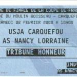 Billet Carquefou-Nancy - Saison 2007-2008 Coupe de France (16e de finale, 02/02/2008)