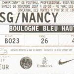 Billet Paris SG-Nancy - Saison 2007-2008 - L1 (14e j., 10/11/2007)