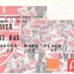Billet Nancy-Troyes - Saison 2007-2008 - Match amical (16/11/2007)