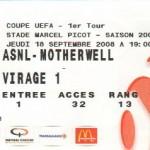 Billet Nancy-Motherwell - Saison 2008-2009 - Coupe UEFA (1er tour aller, 18/09/2008)