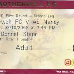 Billet Motherwell-Nancy - Saison 2008-2009 - Coupe UEFA (1er tour retour, 02/10/2008)