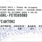Billet Nancy-Feyenoord - Saison 2008-2009 - Coupe UEFA (match de poule #1, 23/10/2008)
