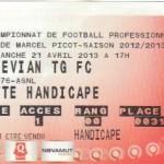 Billet Nancy-Évian TG - Saison 2012-2013 - L1 (33e j., 21/04/2013)