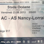 Billet Le Havre-Nancy - Saison 2013-2014 - L2 (4e j., 23/08/2013)  [Collection privée Thimotée M.]