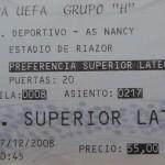 Billet La Corogne-Nancy - Saison 2008-2009 - Coupe UEFA (match de poule #4, 17/12/2008) [Collection privée Claudio]