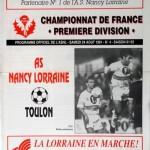 Programme Nancy-Toulon - Saison 1991-1992 - D1 (7e j., 24/08/1991)