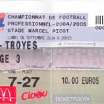 Billet Nancy-Troyes - Saison 2004-2005 - L2 (6e j., 06/09/2004) [Collection privée Jean-Jacques]