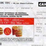 Billet Toulouse-Nancy - Saison 1998-1999 - D1 (14e j., 14/11/1998) [Collection privée Didier supporter toulousain pour la paix entre supporters]