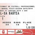 Billet Nancy - CA Bastia - Saison 2013-2014 - L2 (20eme j.,  17-01-2014)