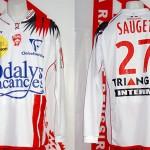 Maillot championnat domicile porté (David Sauget) avec patch Offensive - Nancy Sochaux saison 2007 2008 [collection privée Xavinos]