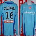 Maillot coupe de la Ligue porté (Damien Grégorini) saison 2009 2010 Toulouse Nancy [collection privée Xavinos]