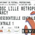 Billet Lille-Nancy - saison 2008-2009 (38e j. ,30-05-2009)