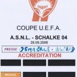 Accréditation Coupe d'Europe Nancy Schalke 04 Saison 2006 2007 (28-09-2006)