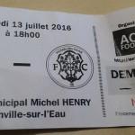 Billet ASNL - FC Hombourg Saar 13 07 2016