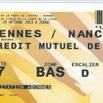 Billet Coupe de la Ligue extérieur Rennes Nancy saison 2012 2013 (16eme 29-10-2013)