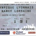 Billet Lyon Nancy - Saison 2007-2008 – L1 (37e j,10 05 2008)