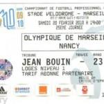 Billet  Marseille - Nancy saison 2009 2010 (j°25 ; 28;02;2010)