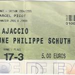 Billet Nancy - Ajaccio - saison 2004-2005 - L2 (32eme de Coupe de France - 07;01;2005)