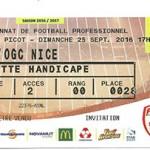 Billet Nancy Nice Saison 2016-2017 L1 7ej 25-09-2016