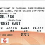 Billet Nancy -  Paris - saison 2011-2012 - L1 ( j°30 - 31;03;2012)