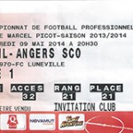 Billet Nancy- SCO Angers - Saison 2013-2014 - L2 (37e j 09 05 2014)