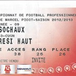 Billet Nancy -  Sochaux - saison 2012-2013 - L1 (j°09 - 20;10;2012)