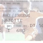 Billet Nancy-Strasbourg - Saison 2000-2001 - D2 32eme Coupe de France 21 01 2001