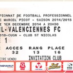 Billet Nancy- Valenciennes - Saison 2014-2015 - L2 (16e j 01 12 2014)