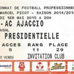 Billet championnat domicile Nancy Ajaccio ACA Saison 2014 2015 (01-05-2015)
