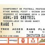 Billet championnat domicile Nancy Créteil Saison 2014 2015 (07-11-2014)
