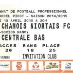 Billet championnat domicile Nancy Niort Saison 2014 2015 (10-04-2015)