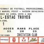 Billet championnat domicile Nancy Troyes Saison 2014 2015 (24-04-2014)