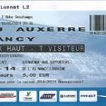 Billet championnat extérieur Auxerre Nancy saison 2013 2014 (16-05-2014)