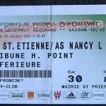 Billet championnat extérieur Saint Etienne Nancy 2012 2013 (05-10-2012)