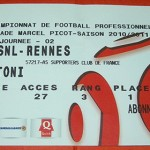 Billet domicile championnat Nancy Rennes Saison 2010 2011 (j.02)