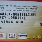 Billet extérieur championnat Sochaux Nancy 2012 2013 (02-03-2013)