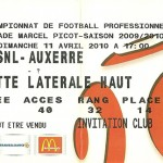 Billet saison 2009 2010 - Asnl.Auxerre 11-04-2010 Collection Cedric N