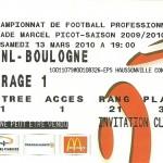 Billet saison 2009 2010 - Asnl.Boulogne 13-03-2010 Collection Cedric N