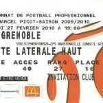 Billet saison 2009 2010 - Asnl.Grenoble 27-02-2010 Collection Cedric N