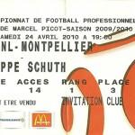 Billet saison 2009 2010 - Asnl.Montpellier 24-04-2010 Collection Cedric N