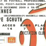 Billet saison 2009 2010 - Asnl.Rennes 12-12-2009 Collection Cedric N