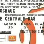 Billet saison 2009 2010 - Asnl.Sochaux 26-09-2009 Collection Cedric N