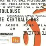 Billet saison 2009 2010 - Asnl.Toulouse 12-09-2009 Collection Cedric N