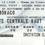 Billet saison 2009 2010 - Coupe de la Ligue Asnl.Monaco 23-09-2009 Collection Cedric N