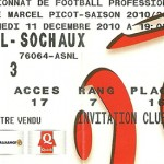 Billet saison 2010 2011 - Asnl.Sochaux 11-12-2010 Collection Cedric N