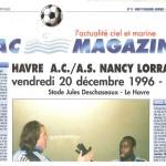 Programme Le Havre Nancy - saison 1996 1997 23e j. 20-12-1996