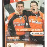 Programme Lorient Nancy - saison 2010 2011 26e j. 05-03-2011