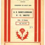 Programme Nancy Metz  - saison 1978-1979 03eme journée