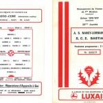 Programme saison 76-77 Nancy Bastia 23-03-77