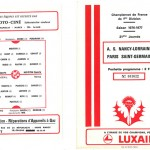 Programme saison 76-77 Nancy PSG 16-01-77